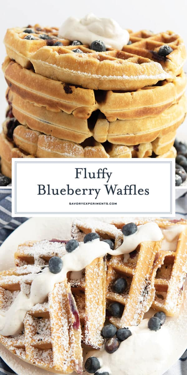Blueberry waffles from scratch for Pinterest