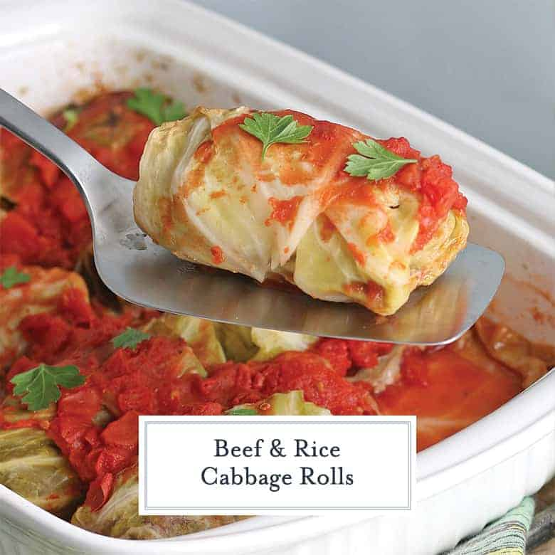 Stuffed Cabbage Roll with Tomato Sauce on a spatua