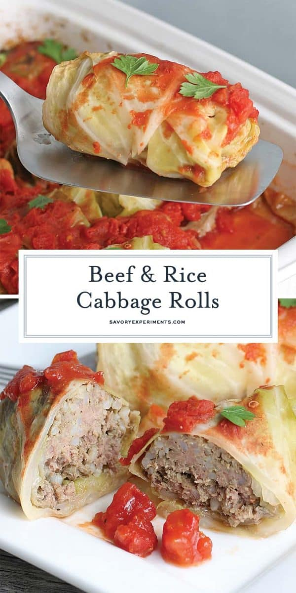 Beef and Rice Cabbage Rolls for Pinterest