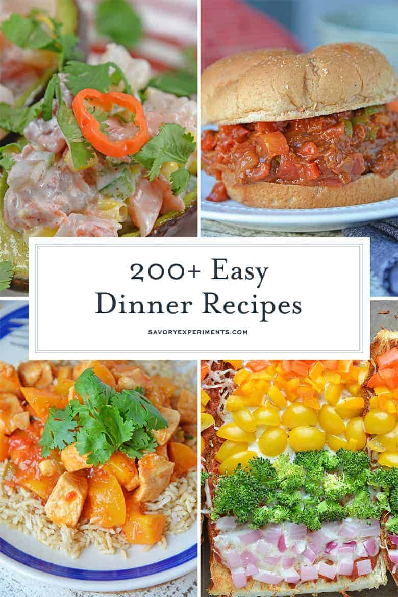 Collage of colorful easy dinner ideas