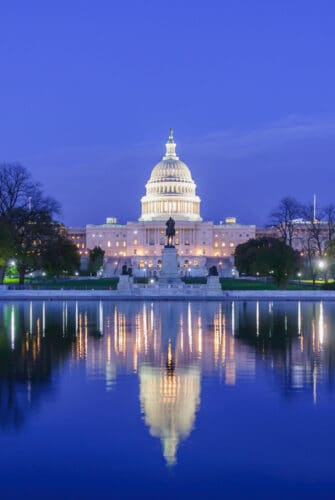 washington capital building at night
