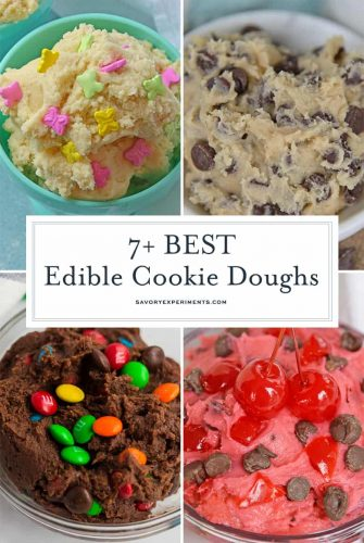 collage of edible cookie doughs