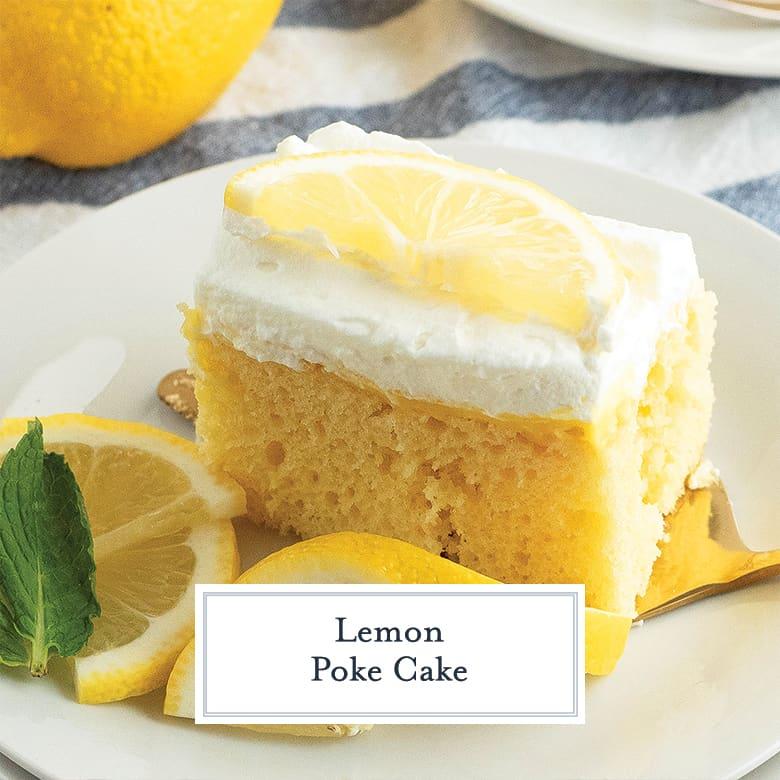 Slice of lemon poke cake
