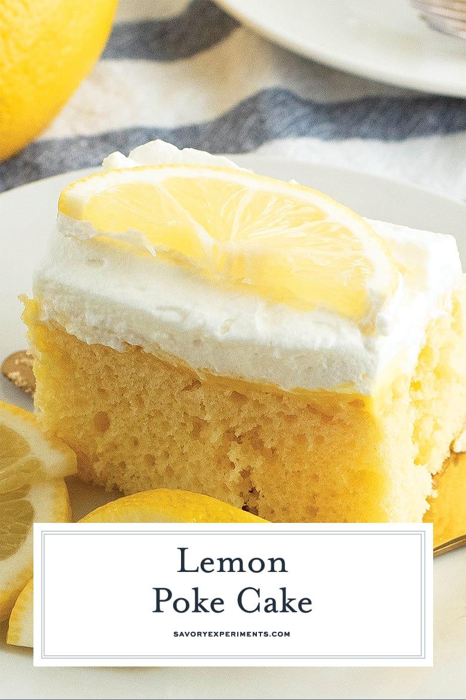 Close up of a slice of lemon poke cake