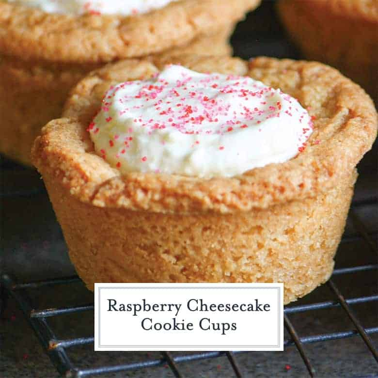 Close up of cheesecake sugar cookie cup