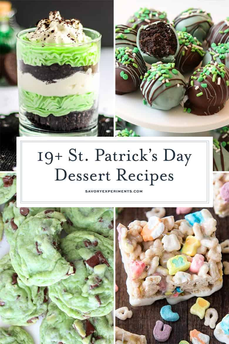 collage of st. patrick's day desserts for pinterest