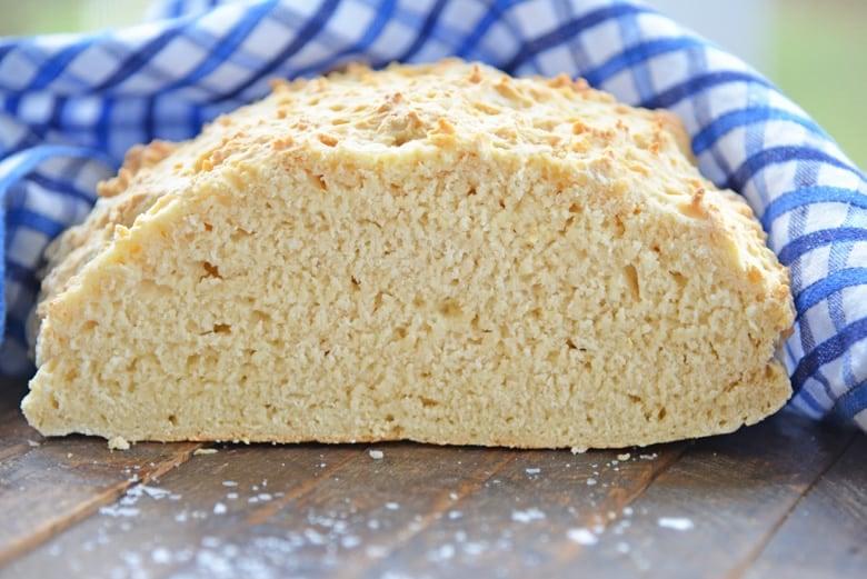 loaf of no yeast bread cut in half