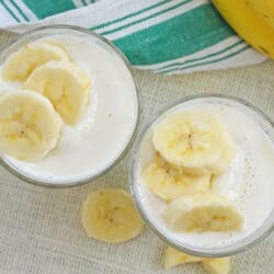 two banana smoothies in cups