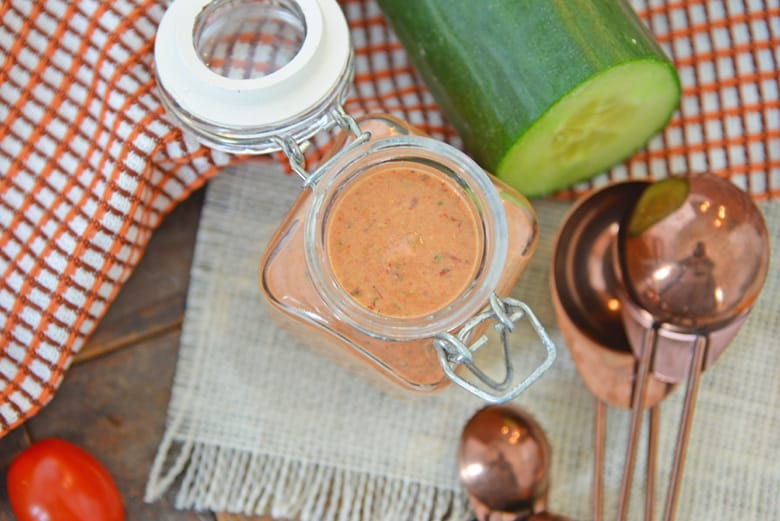 chipotle ranch dressing in a glass container
