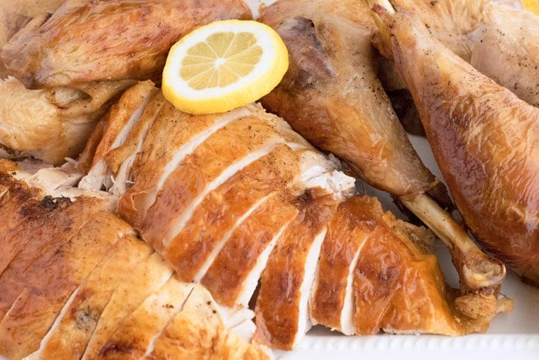close up of a sliced turkey breast using a salt brine