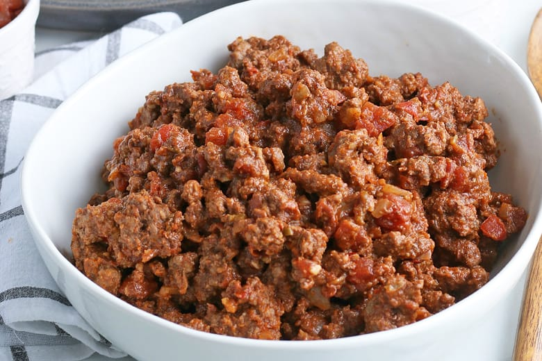 close up of salsa taco meat in a serving bowl