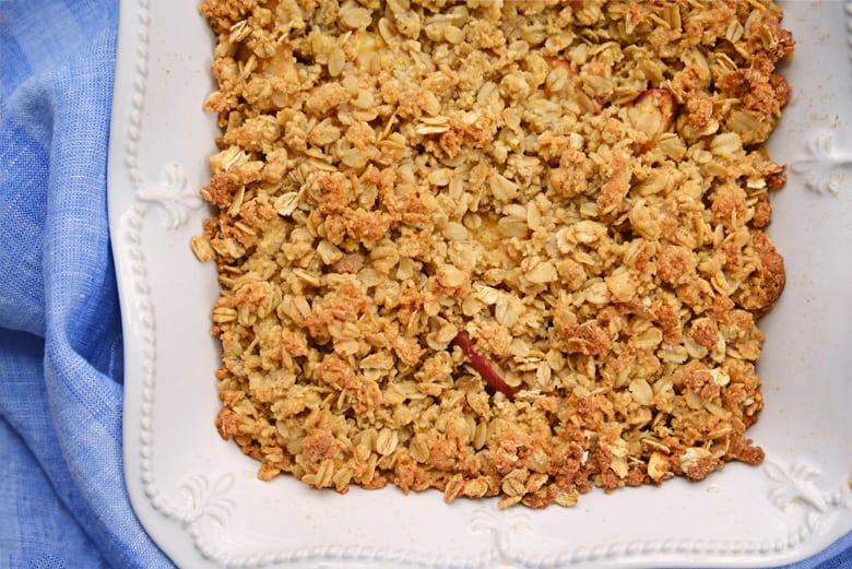 overhead of apple crisp in a baking dish