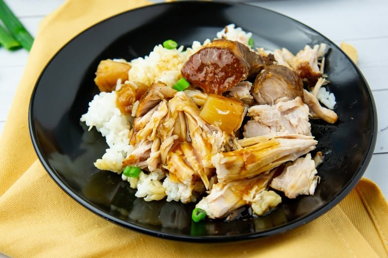 shredded hawaiian pork loin over rice