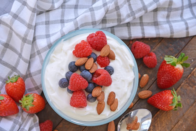 bowl of yogurt with fruit