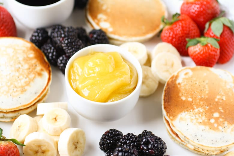 lemon curd with pancakes toppings