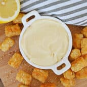 mustard aioli sauce with tater tots