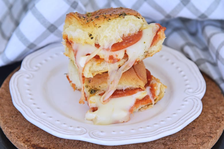 stack of cheesy pizza slider sandwiches