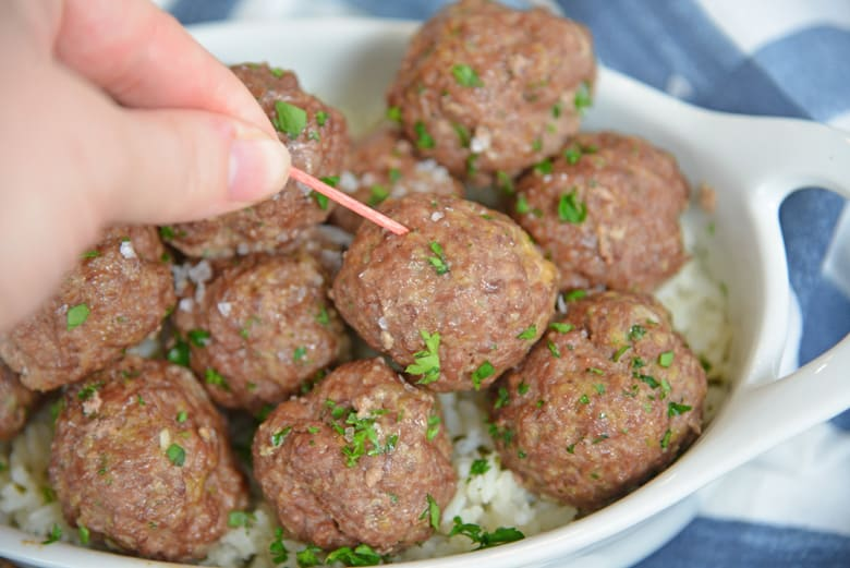 cooked ranch meatballs with parsley