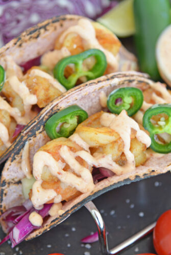 shrimp tacos with jalapeno