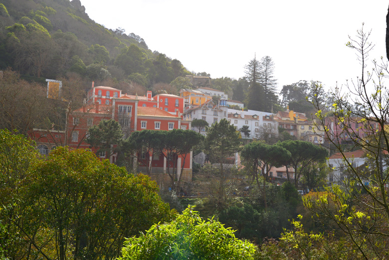Bright buildings on a mountain side in Sintra