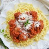 A plate of Meatball and Spaghetti