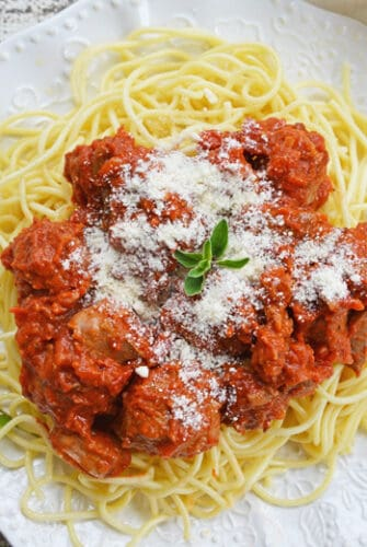 A plate of Meatball and Spaghetti