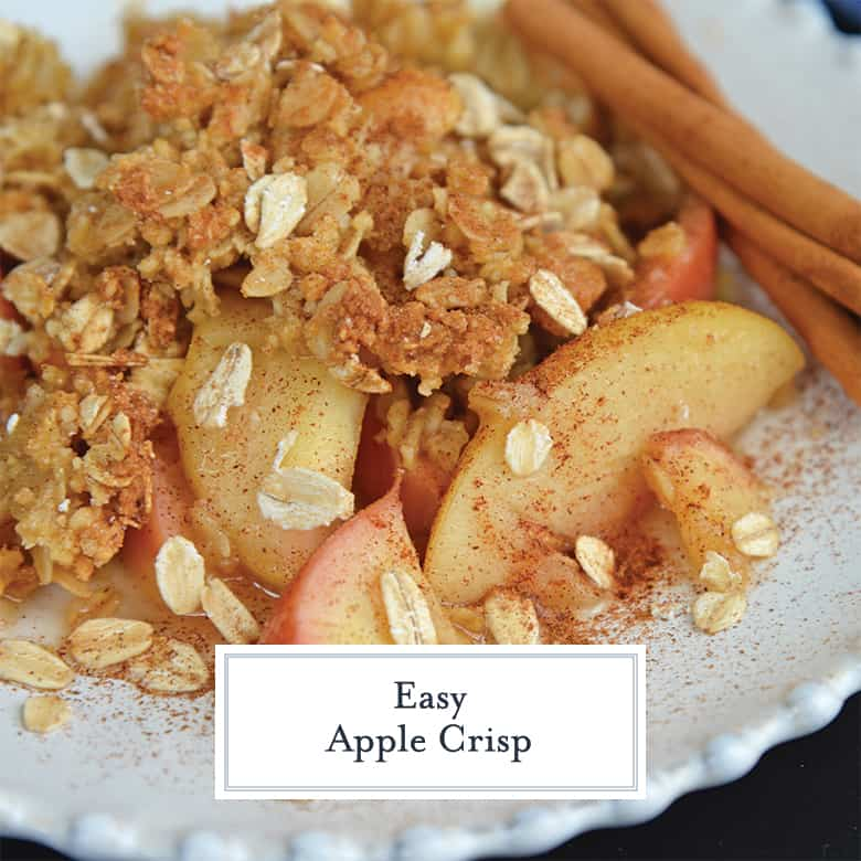 close up of apple crisp with oats