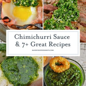 A bunch of different types of food, with Chimichurri and Sauce