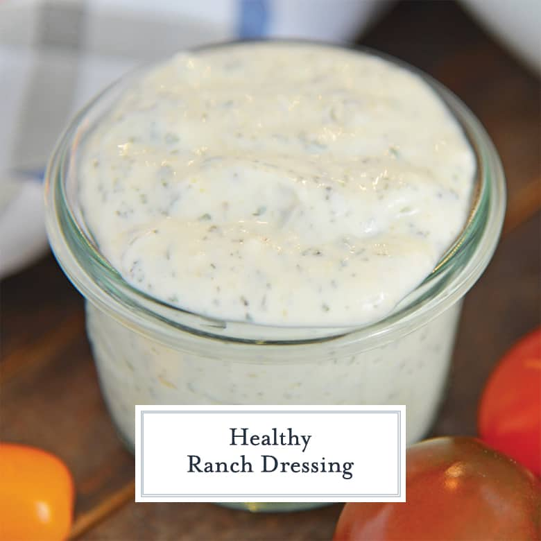 Small glass jar of healthy ranch dressing
