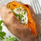 close up of microwaved baked sweet potato