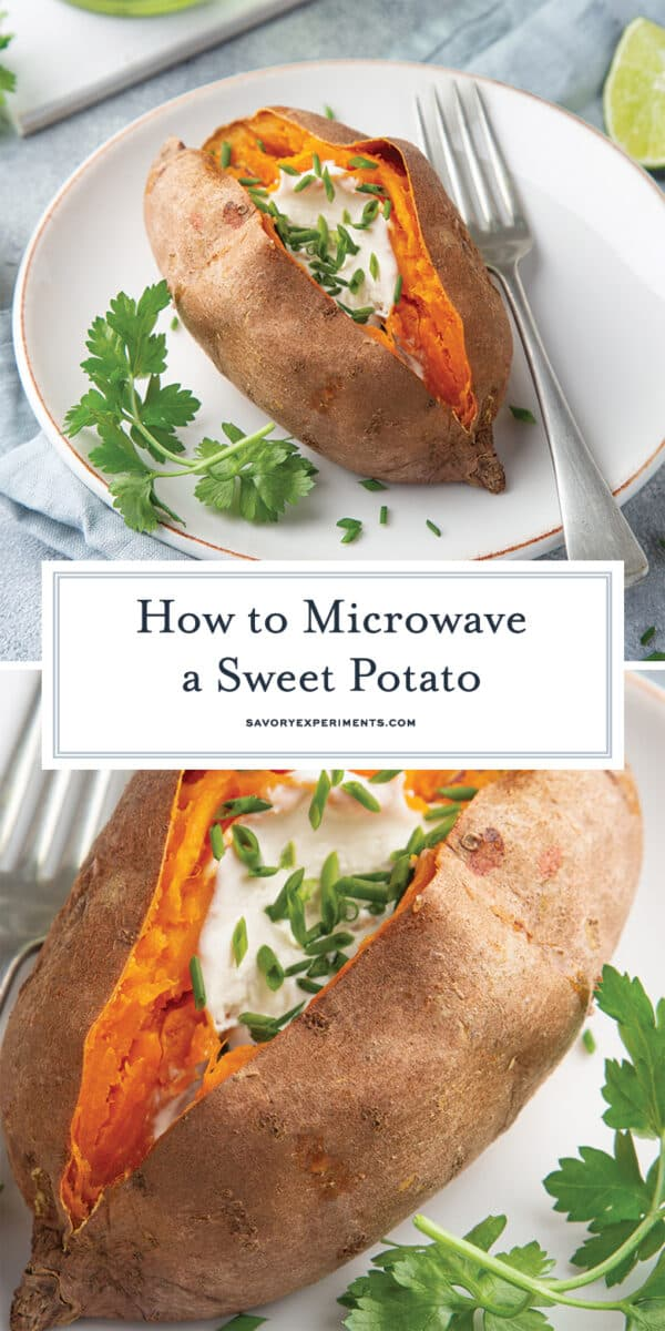 how to microwave a sweet potato for Pinterest