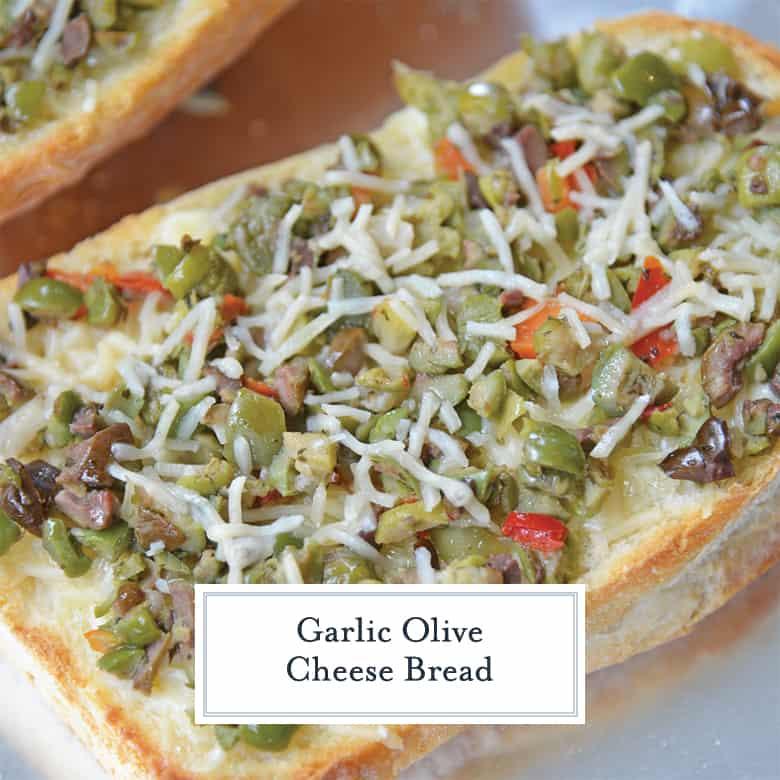 cheesy olive bread close up