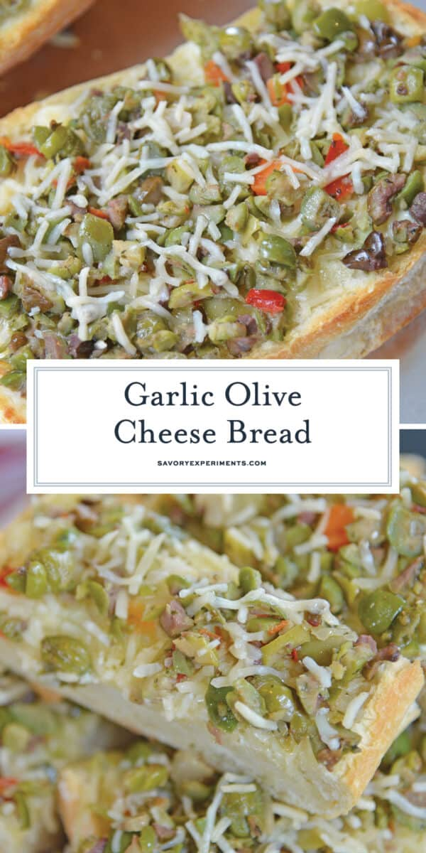 Garlic Olive Cheese Bread for Pinterest