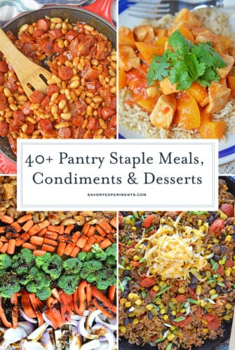 collage of pantry staple food and recipes