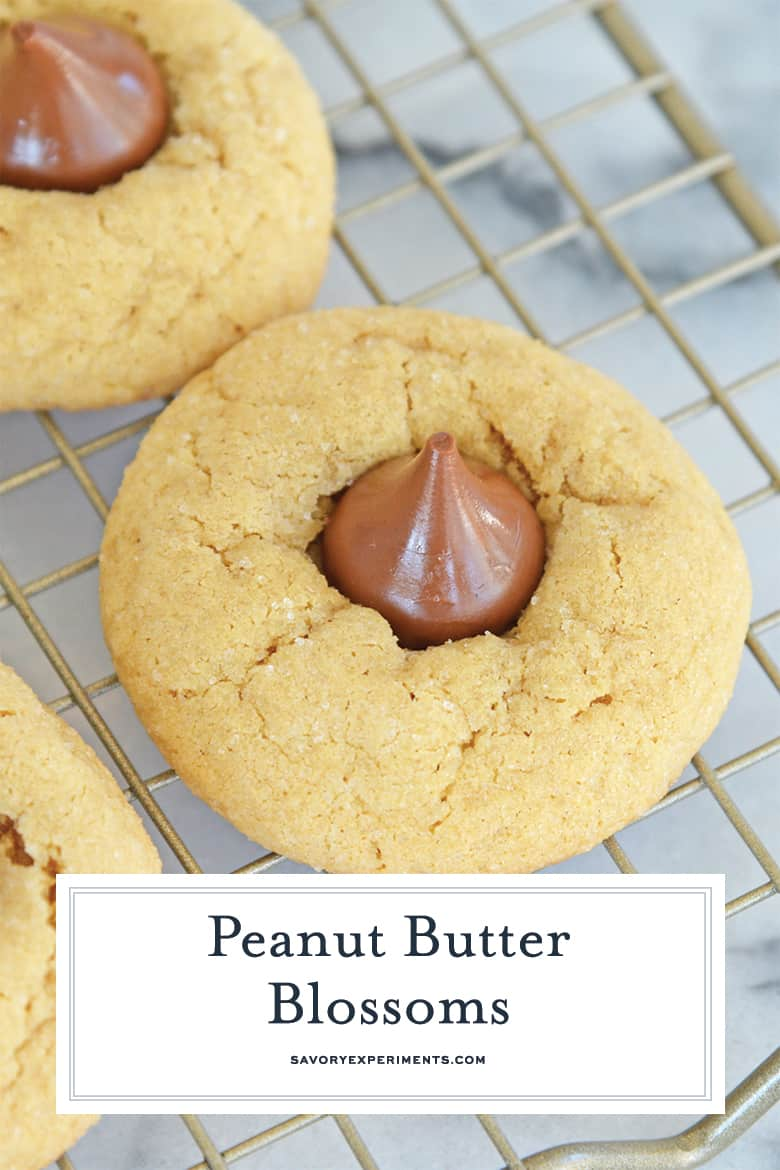 close up of peanut butter blossom for pinterest