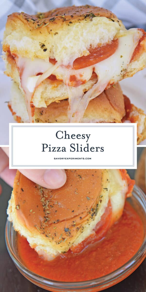 stack of cheesy pizza sliders for pinterest