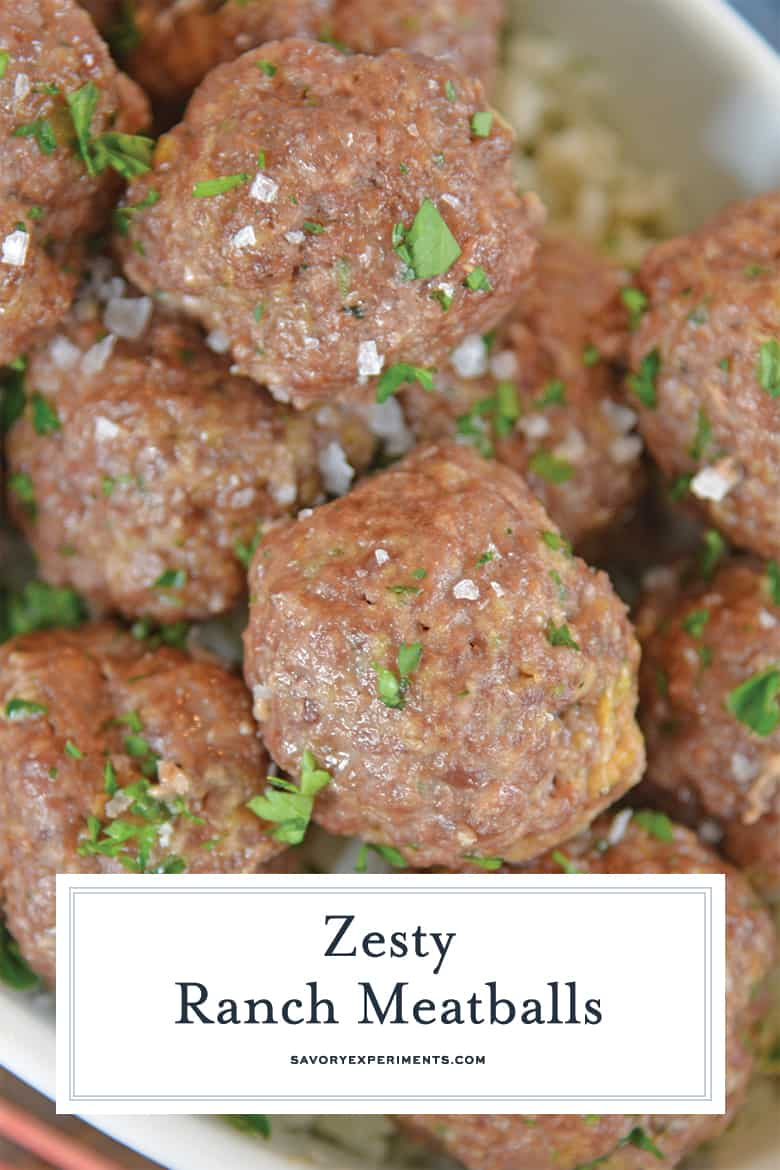 close up of ranch meatballs for pinterest