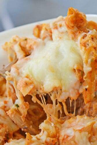 A close up of a plate of cheesy Mostaccioli