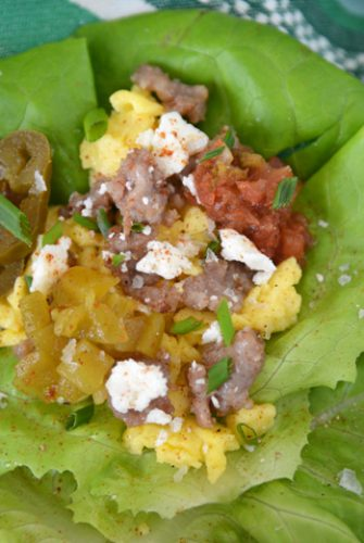 A close up of low carb breakfast taco