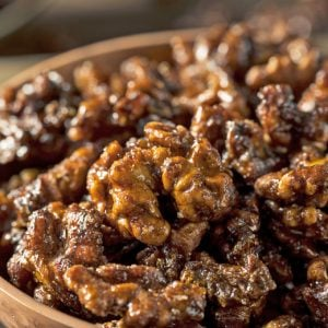 A close up of candied walnuts