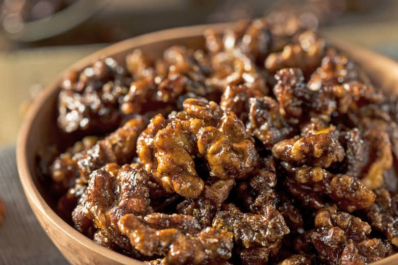 bowl of candied walnuts