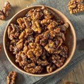 candied walnuts in a wood bowl