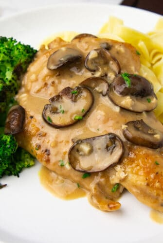 chicken marsala on a white plate