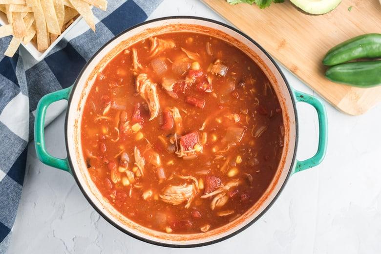 chicken tortilla soup cooking