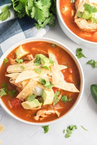 table with chicken tortilla soup