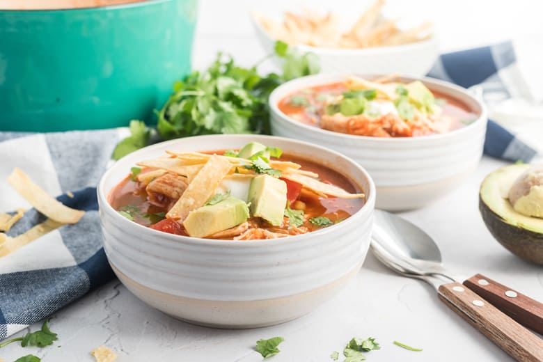 angle of chicken tortilla soup