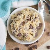 overhead of edible cookie dough