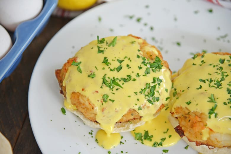 crab cakes on English muffins with blender hollandaise sauce