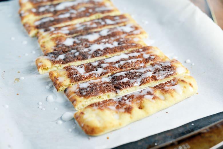 Cinna stix on a baking sheet