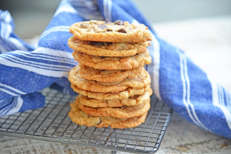 stack of flourless peanut butter cookies